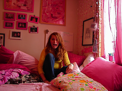 163/365 - Emily in my room, surrounded by pink