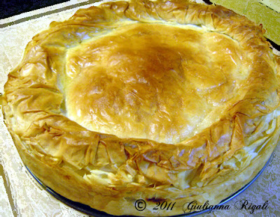 Crispy, Flaky Phyllo (Puffed Pastry) on Timbale - hot out of the oven.
