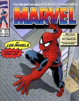 Les Daniels, Five Fabulous Decades of the Worlds Greatest Comics. Spider-Man climbs a wall. John Romita Cover