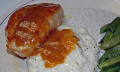 maple-mustard glazed chicken and cheddar cheese grits