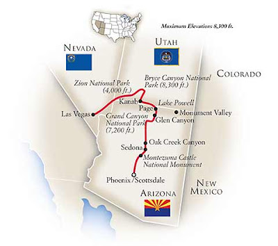 map of the Tauck Canyonlands Tour