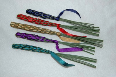 lavender wands with colorful ribbons