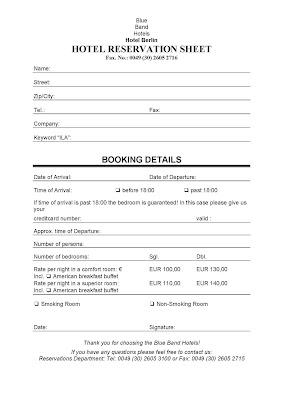 Nb1 English Eoi Cartagena Hotel Reservation Sheet