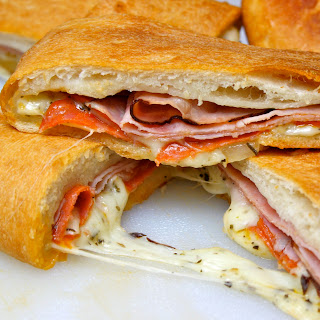 Baked Stromboli with melted cheese