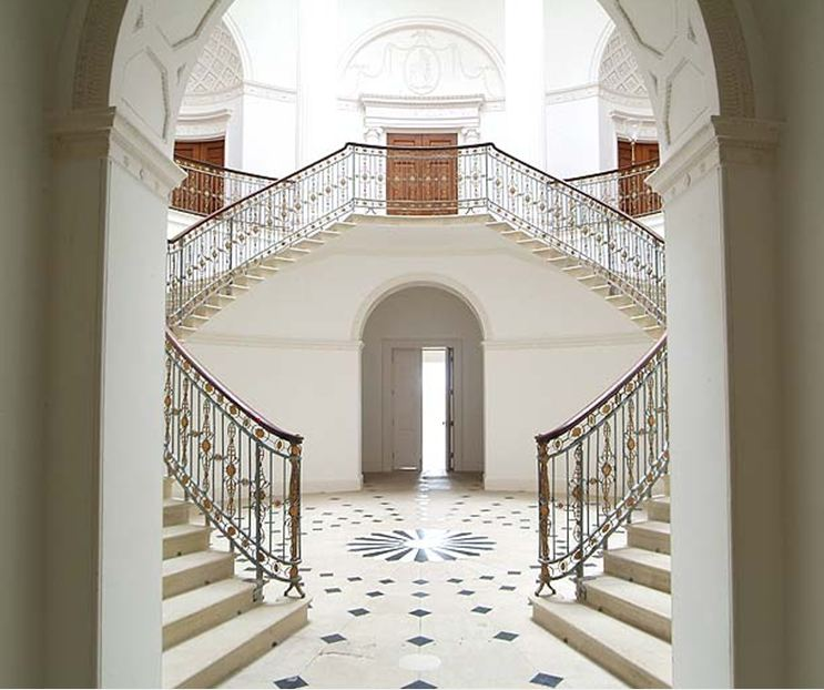 Double Staircase Foyer: COCOCOZY: CASTLE TOUR: WORTHY OF ROYALTY ON THE OUTSIDE
