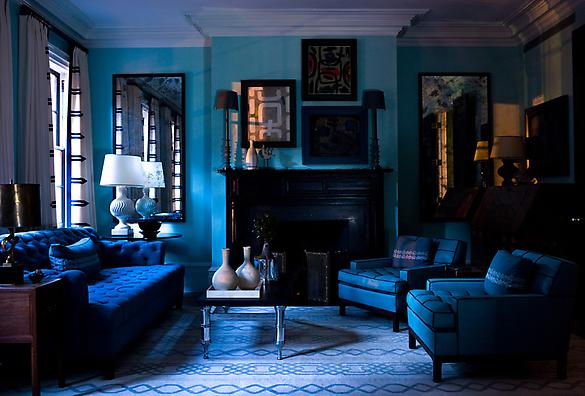 Royal Blue Living Room With A Black Fireplace Tufted Sofa And Armchairs Molded