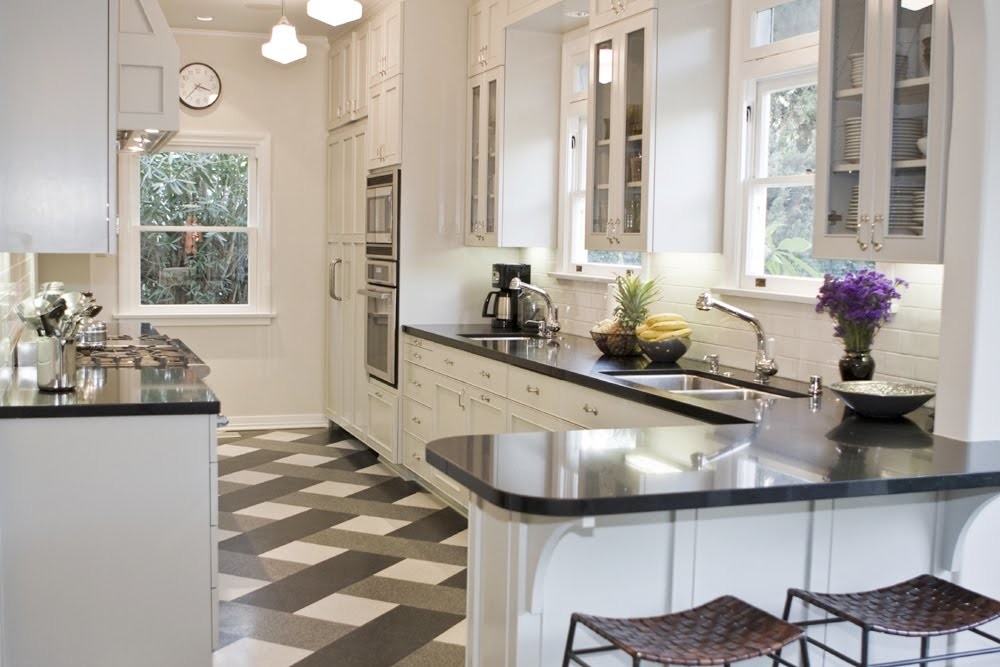 black and white tile floor kitchen. Black And White Tile Floor Patterns  Tom Newman U0027s Kitchen In His Los Angeles Black And White Tile Floor Patterns Parisian Powder Room