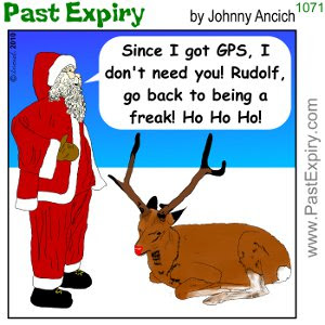 [CARTOON] Rudolf Obsolete!. cartoon, animals, christmas, layoffs, Santa, spoof, unemployed, work,