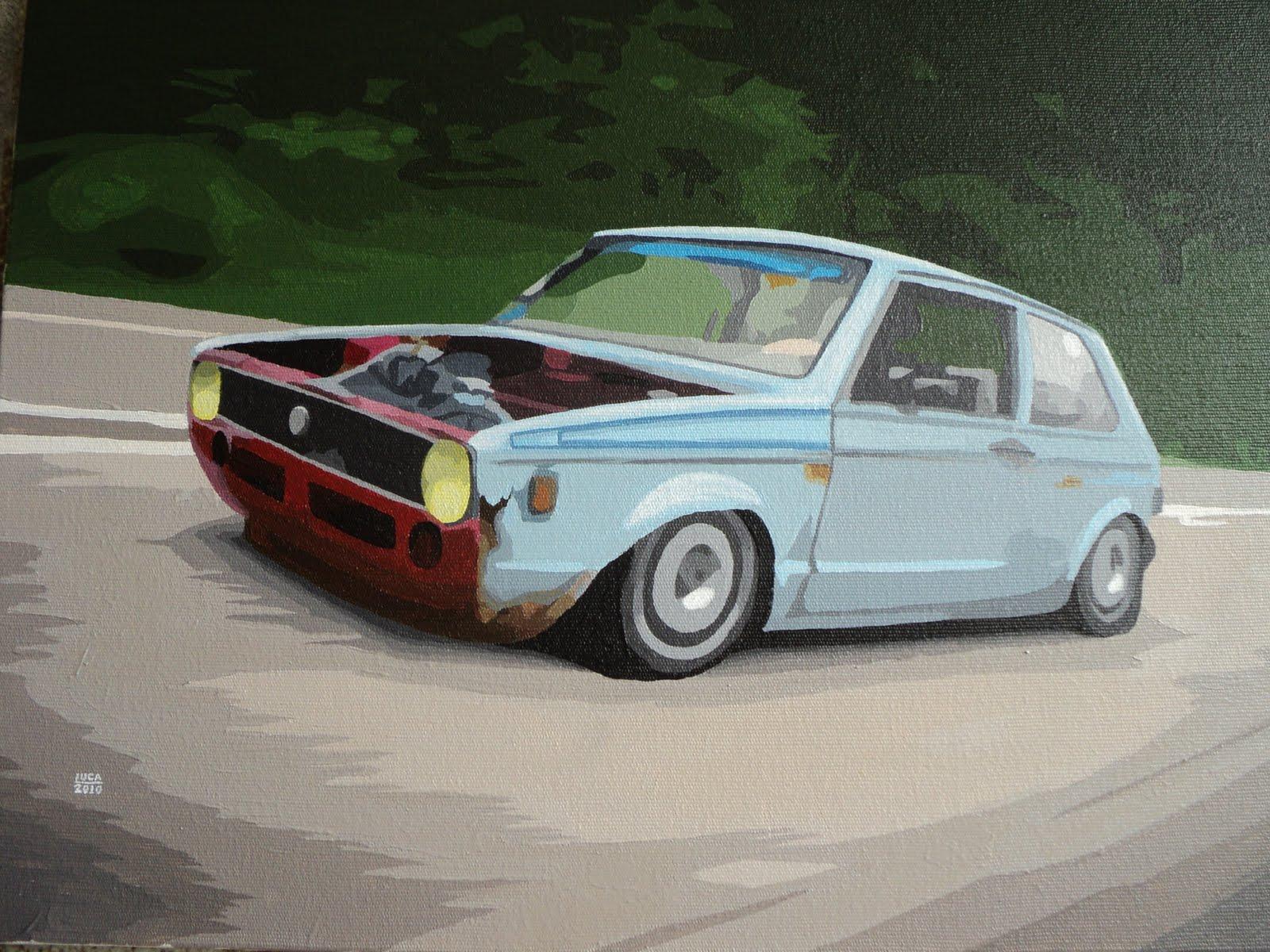 volkswagen golf mk1 acrylic on canvas 30x40 cm [ 1600 x 1200 Pixel ]