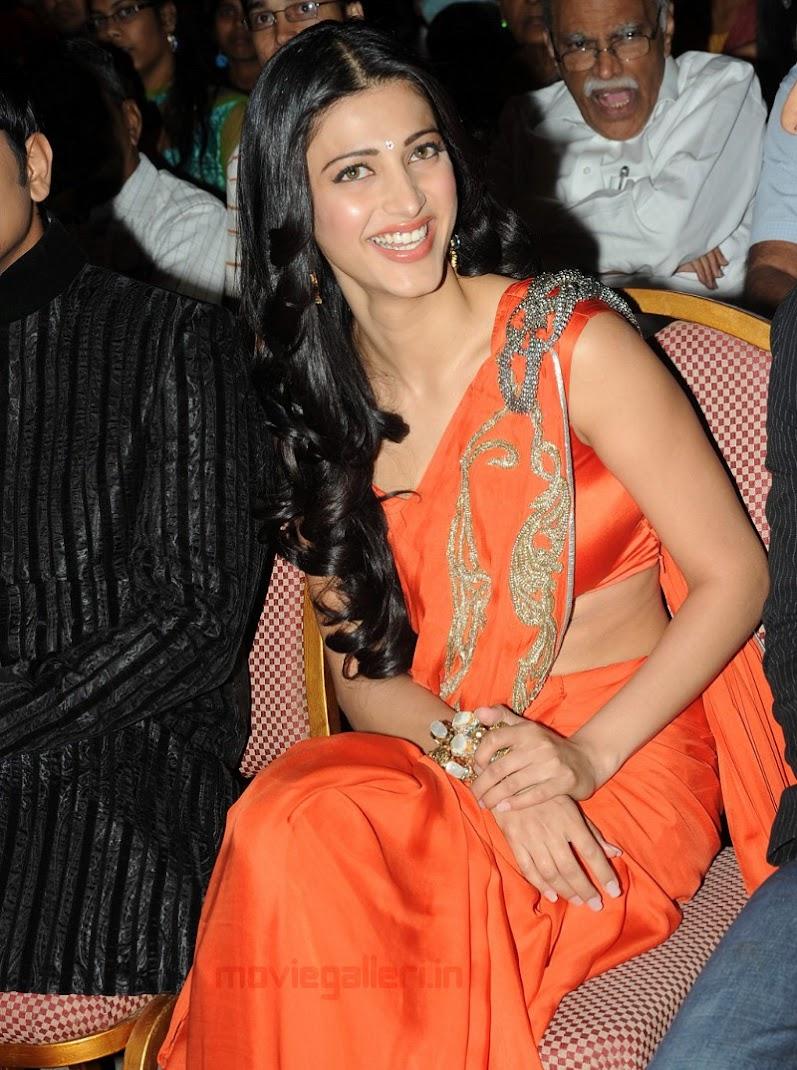 bolly break news latters shruti hassan hot orange saree pics