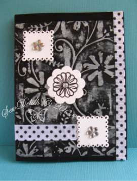 Cuttlebug card black white stylized flowers