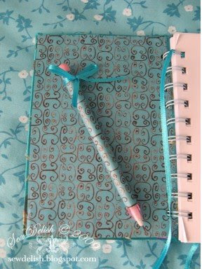 Chinese brocade fabric notebook make Bind-it-all