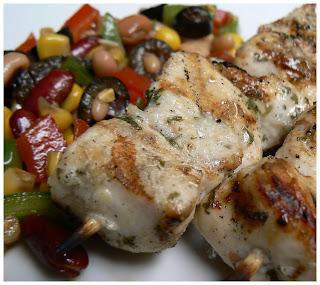 Brochettes de poulet à l'ail