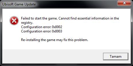 configuration error 0x0002 & 0x0003