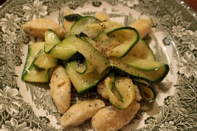 Ricotta gnocci with zucchini tagliatelli tossed in sage butter