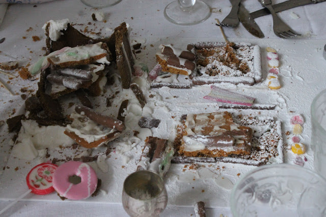 The Aftermath...the ruins of my gingerbread slum... New Year's Eve supper club