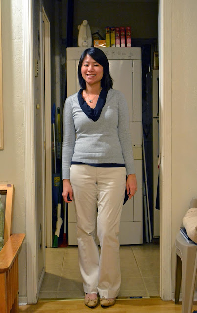 sacramento office fashion blogger angeline evans the new professional business casual ann taylor loft cowl gap sweater old navy pinstripe pants target nude flats banana republic necklace