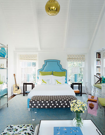 polka dot bench bedroom aqua white green