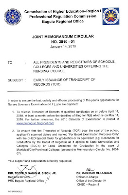 PRC Baguio Information Site: PRC-CHED Joint Memorandum