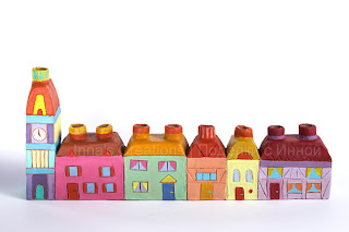 Coloured hanukiah with houses