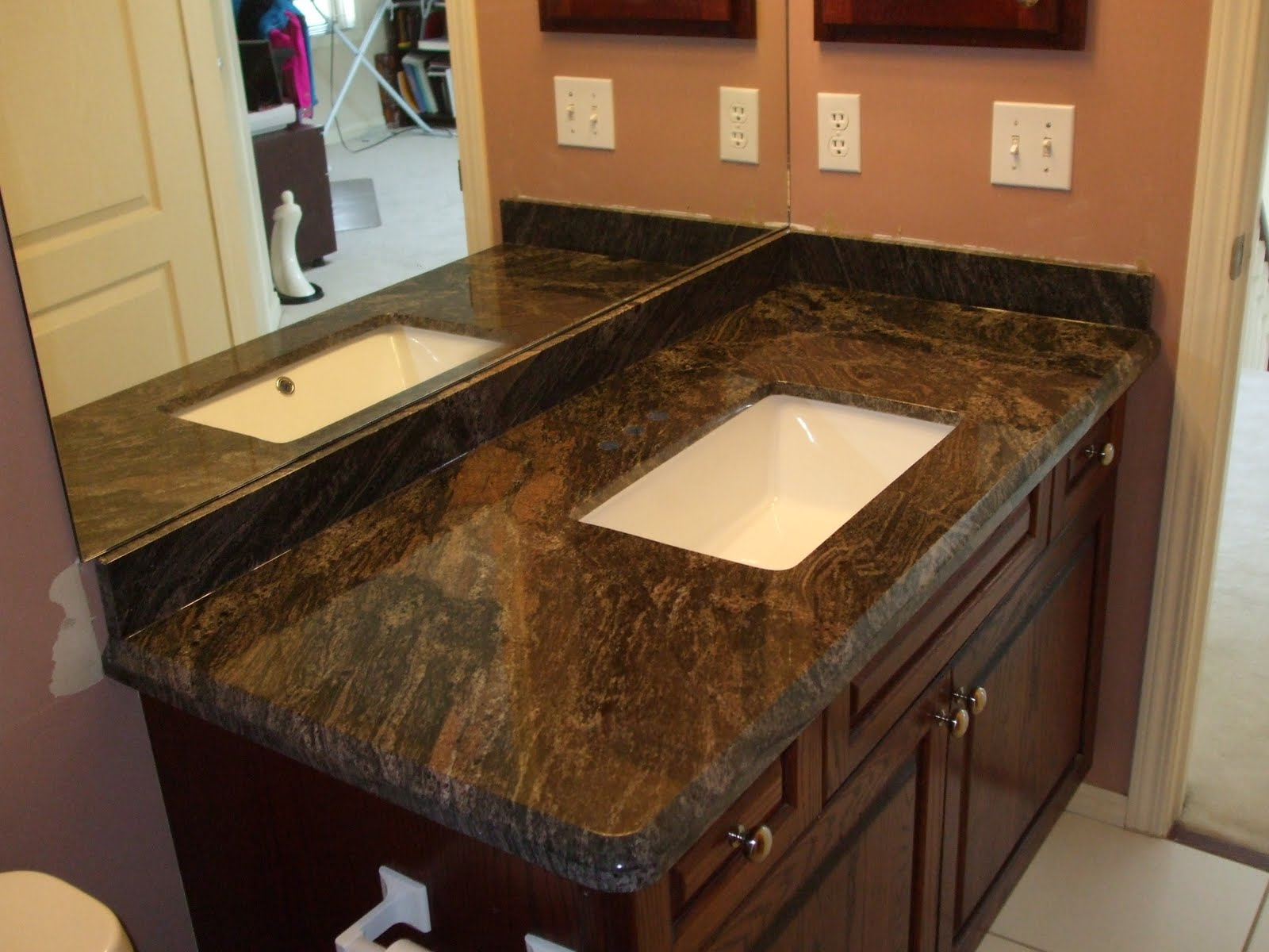 Granite Sandstone Countertop With Tan Cabinet Kitchen Design Ideas