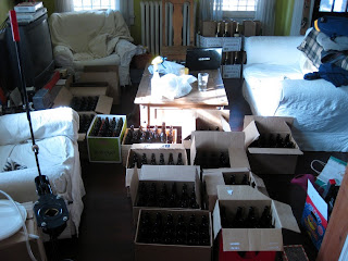 Several hundred, cleaned and sanitized bottles.