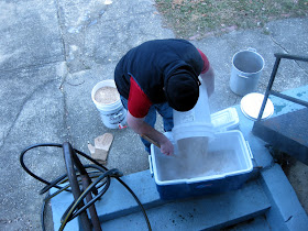 Mashing my 10 gallons of brown for the bourbon barrel.