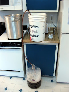 With the syrup added back to the rest of the wort I racked to the fermenter.