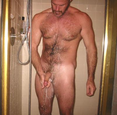 hot man in shower