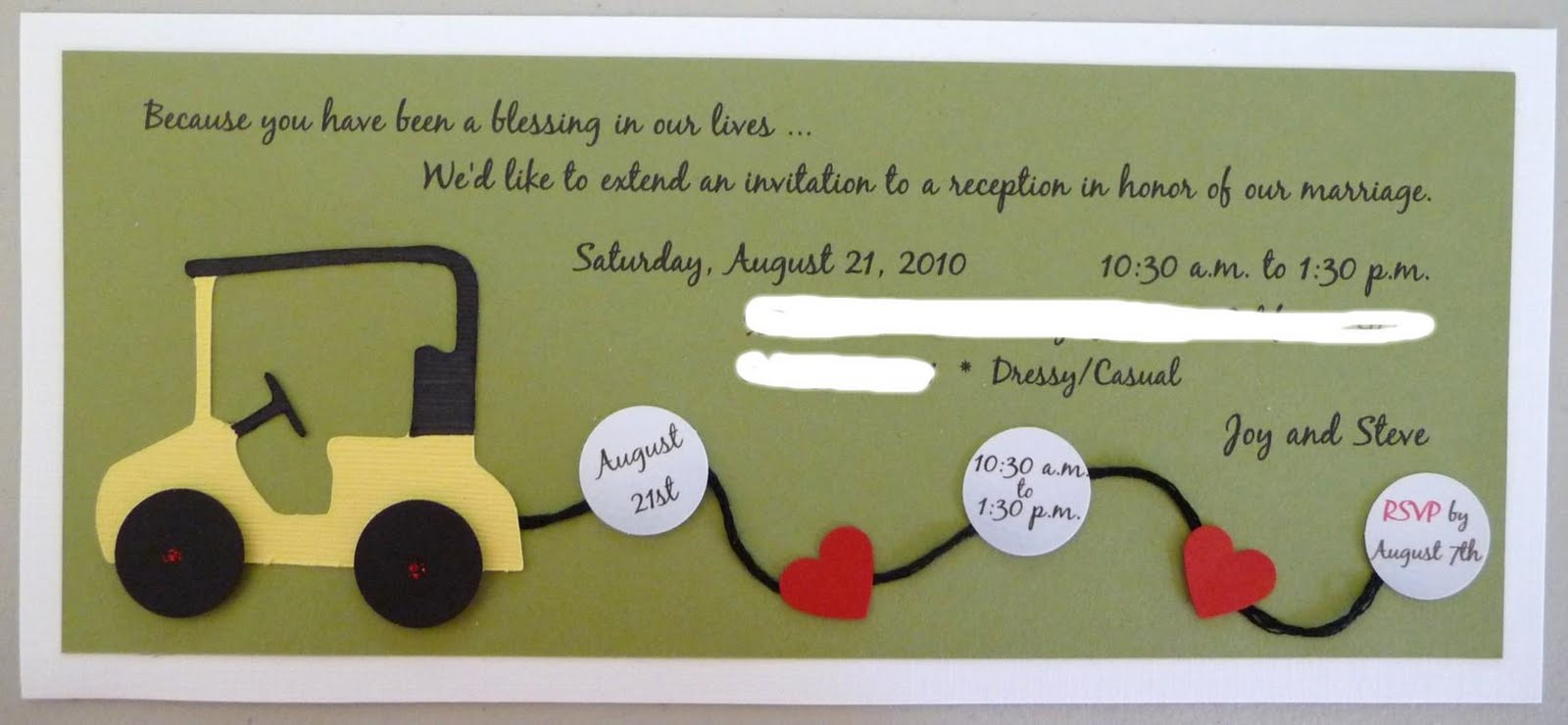 Wedding Invitations For Joy And Steve 2010