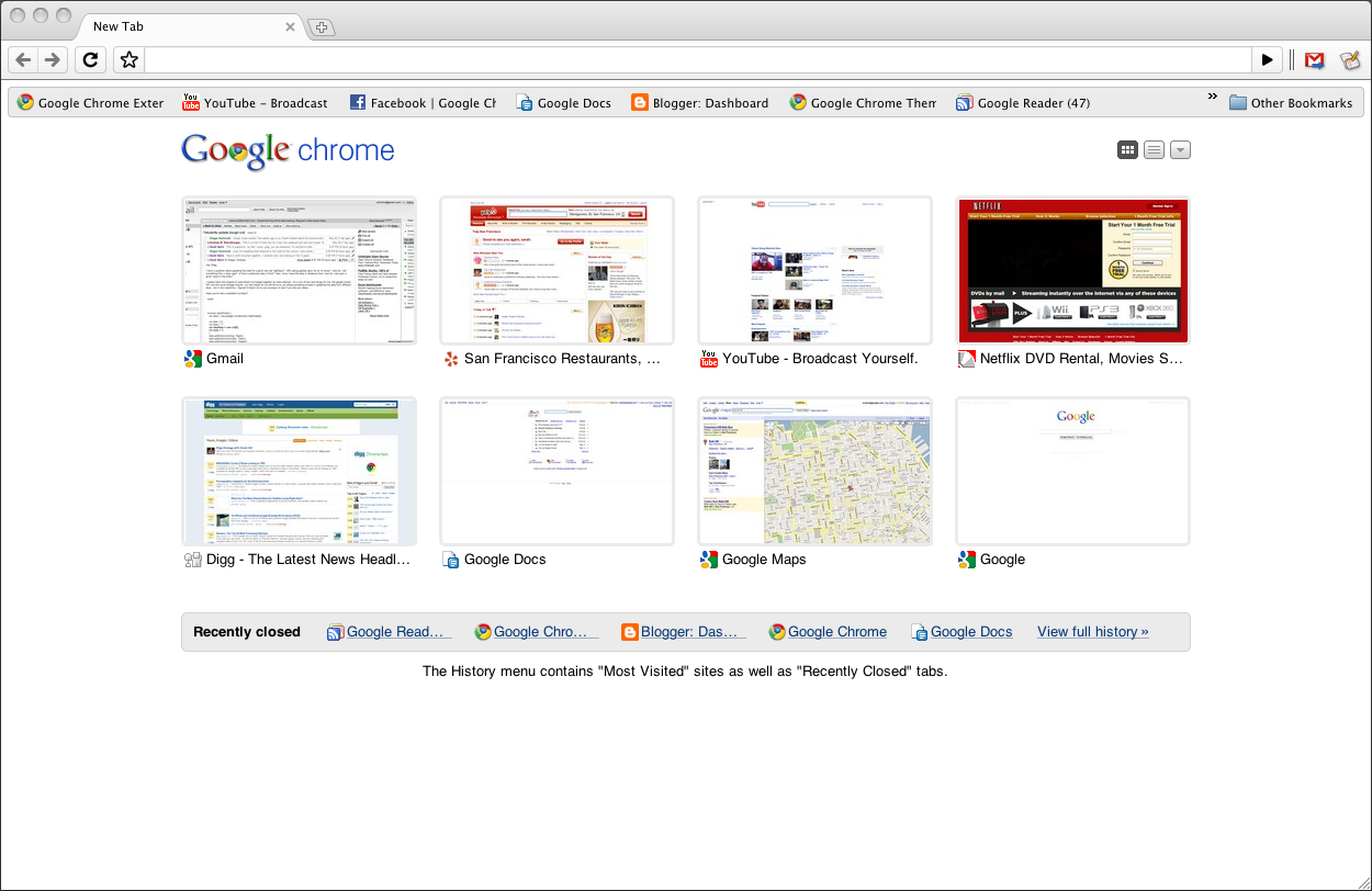 Google Chrome for Mac OS X screenshot