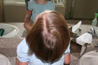 Top view of young girl with A-Line Bob Haircut