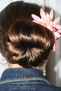 "Back view of young girl modeling ""Teen Hair Bun"" hairstyle"