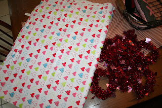 Multi-color heart table cloth and red heart garland