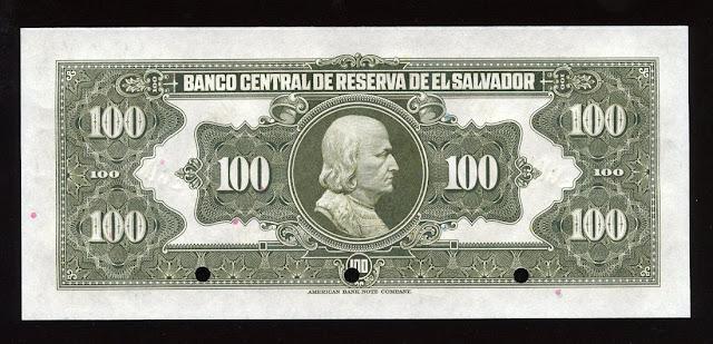 Salvador's currency colon banknote