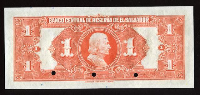 Salvador paper money colon banknote