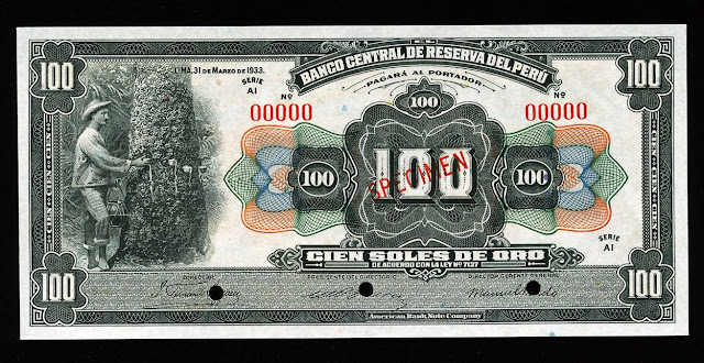 Peru money currency 100 soles American banknote