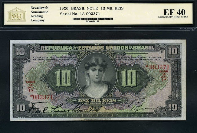 Notafilia Numismática Billete currency cédula note Brazil paper money 10 Brazian Mil Reis Gold Certificate banknote 1926