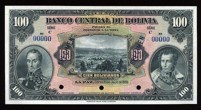 Billete currency Bolivia paper money 100 Bolivian bolivianos Simon Bolivar José de Sucre Panoramic view of La Paz banknote Notafilia