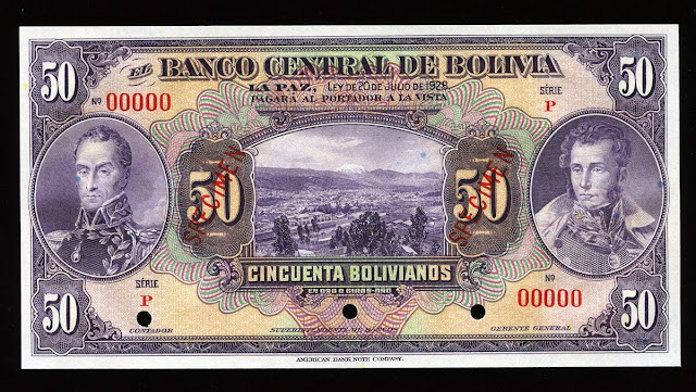 Notafilia Numismática collecting paper money Papiergeld Billete currency Bolivia paper money 50 Bolivian bolivianos banknote