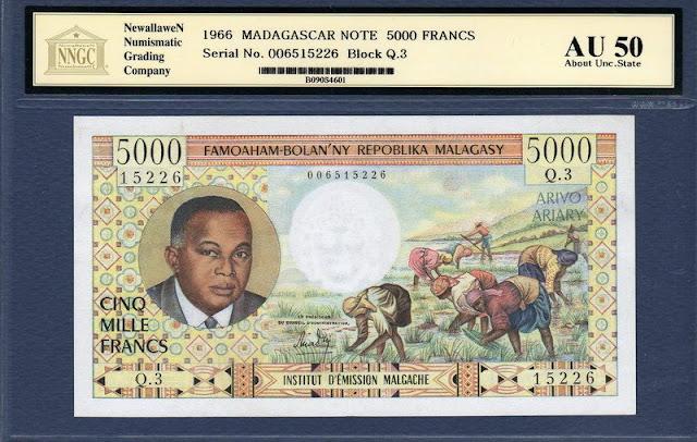 Madacascar banknotes world paper money currency values 5000 Francs 1000 Ariary President of Madagascar Philibert Tsiranana