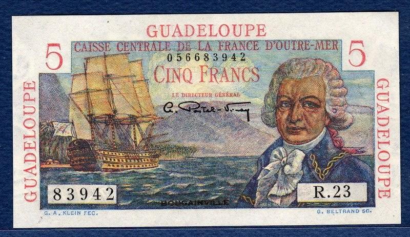 Guadeloupe Banknotes 5 Francs Bank Note Admiral