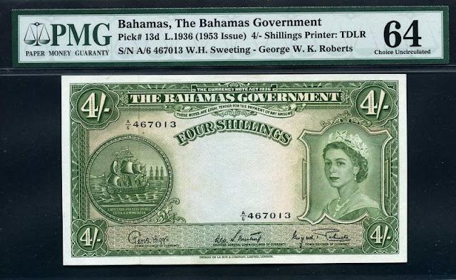 1- Amerika Karibik Bahamas 4 Shillings 1953 Pick 13d