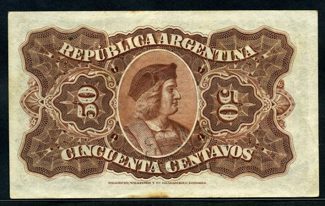 currency Argentina 50 Centavos banknote