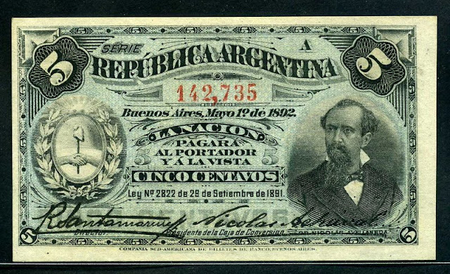 paper money Argentina 5 Centavos banknote Fractional Currency