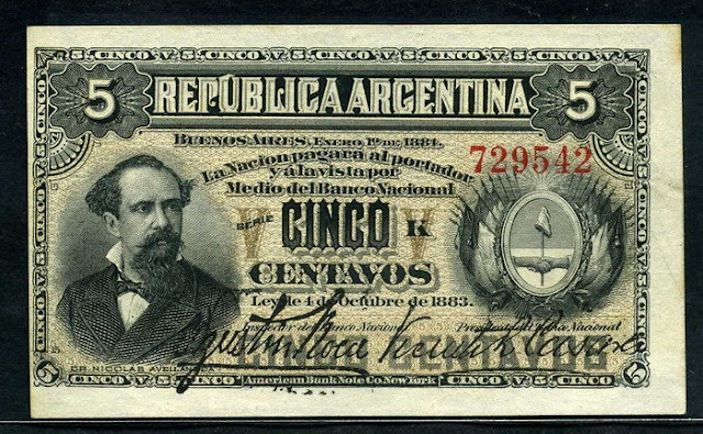 Argentina fractional currency 5 Centavos banknote
