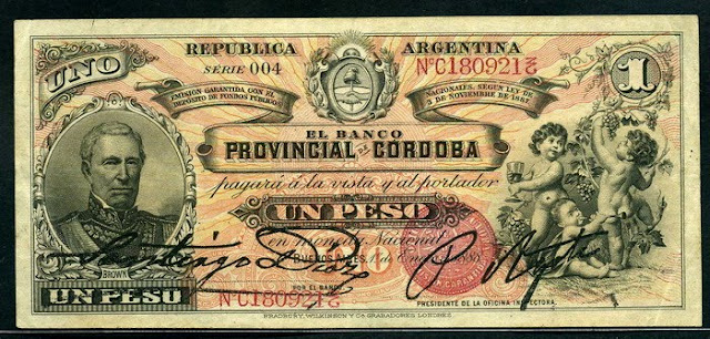 Argentina currency Cordoba 1 Peso banknote
