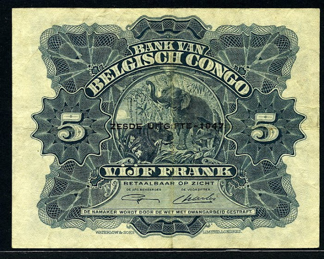 Belgian Congo money 5 Francs note bill