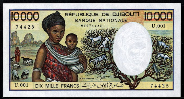 Djibouti banknotes currency 10000 Francs note