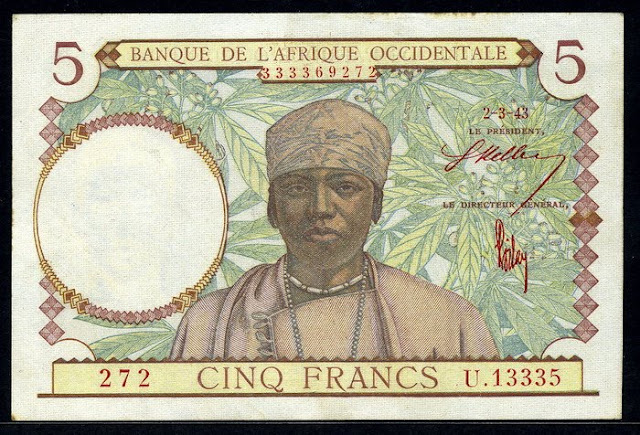 French West Africa 5 Francs banknote bill